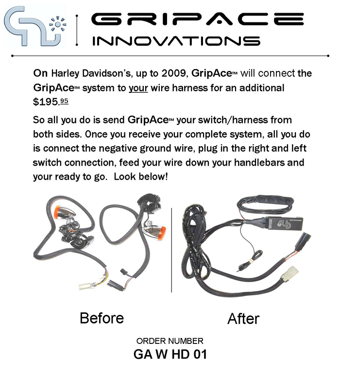 GripAce - Digital Switch Kit for Harley-Davidsons on harley ignition wiring, harley speedometer wiring, harley wire rims, motorcycle wiring, harley softtail wiring, harley ultra classic wiring, custom harley wiring, harley chopper wiring, sportster wiring, harley hardtail wiring, harley-davidson starter wiring,